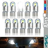 T10 LED Light Bulb,NAO Super Bright 3030 Chipset 194 168 SMD W5W LED Wedge Light LED Bulbs for Car Interior Lights (10ps-White)