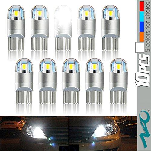 T10 LED Light Bulb,NAO Super Bright 3030 Chipset 194 168 SMD W5W LED Wedge Light LED Bulbs for Car Interior Lights (10PCS-White)