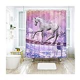 Beydodo Window Shower Curtain Waterproof with Bridge, White Horse Wunderlund Pattern 70x78in