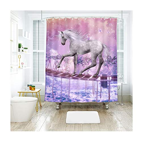 Foot Pull Rectangular Step Two (Aokarry Hotel Quality Polyester Shower Curtain for Bathroom Single Bridge, White Horse Wonderland Multicolor 200X180Cm)