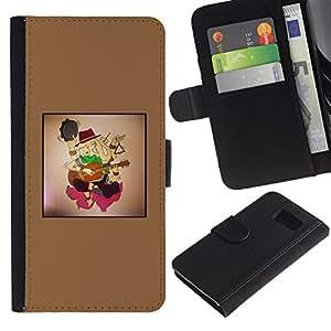 Paccase / Billetera de Cuero Caso del tirón Titular de la tarjeta Carcasa Funda para - Violin boy - Samsung Galaxy S6 SM-G920