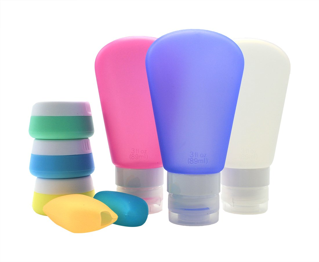 NinkyNonk Travel Bottles Set Leak Proof Silicone Travel Bottles Cream Containers Toothbrush Cover with Toiletry Bag