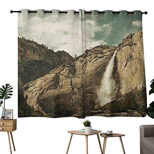 bybyhome Yosemite Grommet top Darkening Curtains Waterfalls in Yosemite National Park California Famous Travel Destination Privacy Assured Window Treatment Brown Reseda Green W96 x L72]()