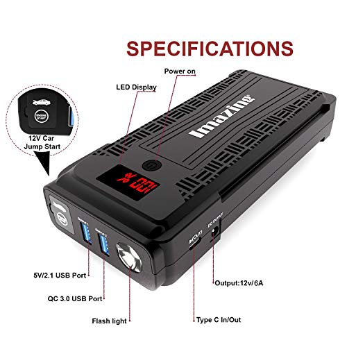 Imazing Portable Car Jump Starter - 2500A Peak 20000mAH (Up to 8L Gas or 8L Diesel Engine) 12V Auto Battery Booster Portable Power Pack with LCD Display Jumper Cables, QC 3.0 and LED Light by Imazing (Image #1)