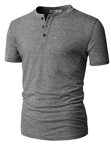 H2H Mens Long Sleeve Henley Shirts with Button Placket Gray US S/Asia M - Striped Henley Shirt Sleeve Long