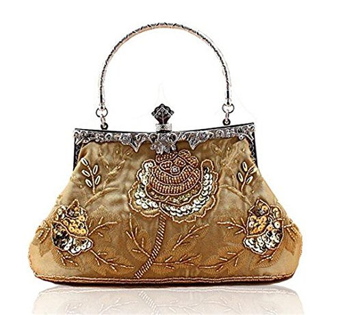Cluthes Party Evening Prom Handbag ISHOW Dinner Gold Vintage Satin Beaded Womens PqP60