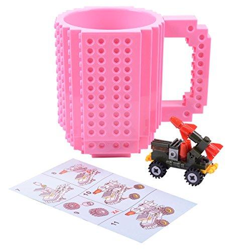 FUBARBAR Build-On Brick Mug - BPA-Free 12oz Blocks Coffee Cup, Comes with Build-On Building Bricks, Plastic Mug for Coffee Tea Beverage Drinking, Creative and Funny (Pink)