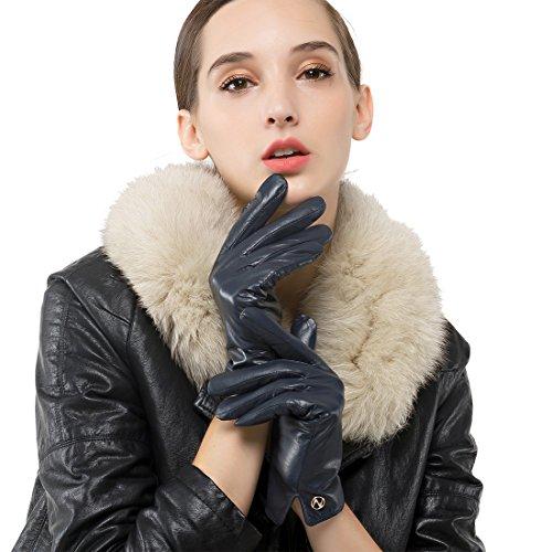 Nappaglo Women's Italian Lambskin Leather Gloves Winter Warm Simple Long Fleece Lining Gloves (Touchscreen or Non-Touchscreen) (M (Palm Girth:7