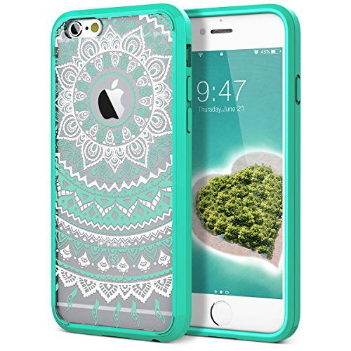 iPhone 6 Plus Case, iPhone 6S Plus Case, SmartLegend Retro Totem Mandala Floral Pattern Hybrid Clear PC Hard Back with TPU Bumper Acrylic Protective Transparent Case for iPhone 6/6S Plus 5.5 - Mint