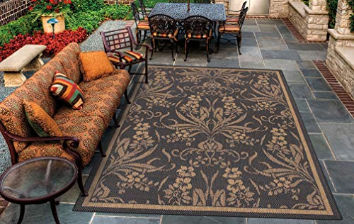 Couristan 1516/0111 Recife Garden Cottage/Black-Cocoa 2-Feet 3-Inch by 7-Feet 10-Inch Runner Rug Cocoa Recife Garden Cottage