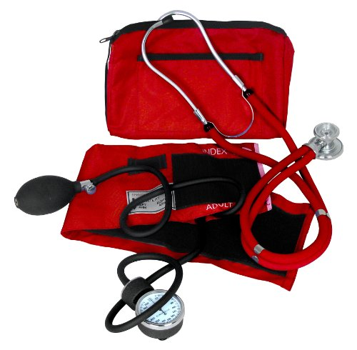 Dixie EMS Blood Pressure and Sprague Stethoscope Kit, (Red Stethoscope)