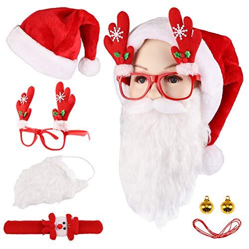 Santa Hat Velvet Red Christmas Hat Santa Beard Reindeer Glasses for -