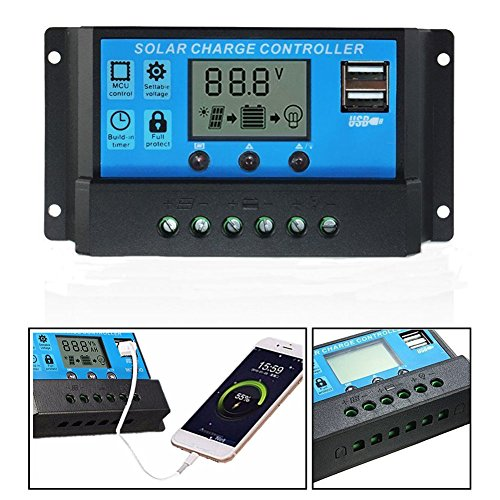 Solar Energy Charger Controller LCD Display Battery Intelligent Regulator with Dual USB Port 12V/24V Overload Protection