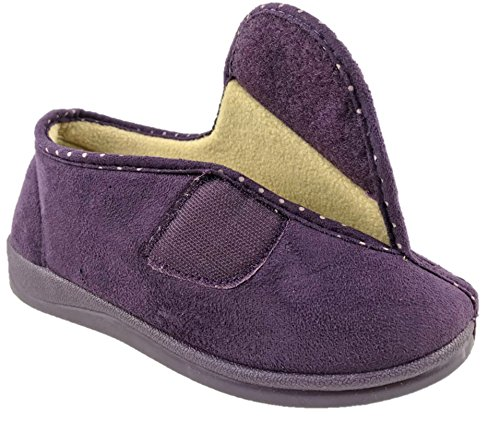 8 MEMORY SIZE DR V WIDE Purple OPENING LIGHTFOOT UK FOAM LADIES 3 FRONT SLIPPERS WASHABLE SOwfxq