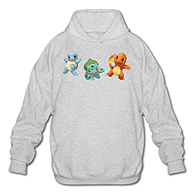XJBD Men's PokeFamily Handsome Hooded Sweatshirt Ash