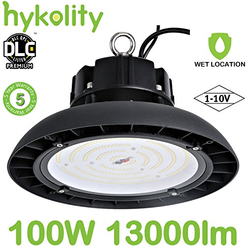 Hykolity 100W UFO LED High Bay Light Fixture, 13000lm 0-10V dimmable 5000K DLC Premium [250w MH/Hps Equivalent] Motion Sensor Optional, Indoor Commercial Warehouse/Workshop/Wet Location Area (Bay 1 Light)
