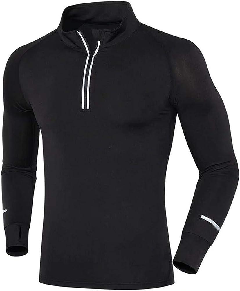 Generice ropa de fitness de manga larga para hombre de secado rápido, ropa de entrenamiento con media cremallera de secado rápido