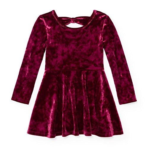 The Children's Place Baby Girls' Solid Velvet Dress, Dark Tamale 94762, (Velvet Dress For Baby Girl)