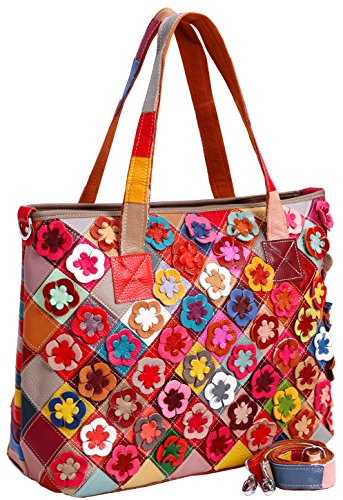 Heshe Women's Hobo Shoulder Bags Cross Body Tote Handbags Purses with Flower Summer Style (Colorful-2B4039)
