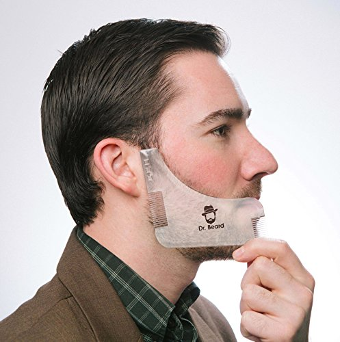 Dr. Beard – Beard shaping tool with inbuilt comb – transparent beard shaper template – works with a beard trimmer, clipper, or razor to style facial hair and beard