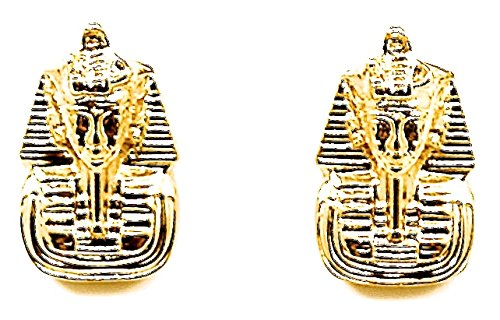Pharaoh Earrings New Gold Color Post Style Egyptian King (Egyptian King Tut Necklace)