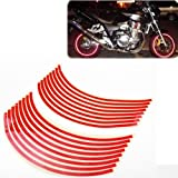 "8mm Red Reflective Rim Tape Wheel Stripe Decal Trim For Motorcycle Wheels 17"" or Car Wheels 16""-18"""