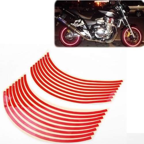 8mm Red Reflective Rim Tape Wheel Stripe Decal Trim For Motorcycle Wheels 17