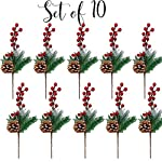 Pine-Holly-Flower-Picks-10-Pieces-Snow-Flocked-Red-Holly-Berry-Pinecones-Holiday-Floral-Sprays-Decoration-13-Inch-Bendable-Stems-Great-for-DIY-Christmas-Crafts-Party-Festive-Home-Dcor