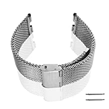 GOOQ Steel Stainless Bracelet Metal Watchband Fit for Moto 360 Smartwatch Motorola Moto 360 Watch Band Plus Free Stainless Spring Bar Tool and Screen Protector for Moto 360 Wristband (Thick Mesh & Steel Silver)