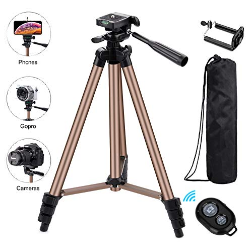 Eocean Tripod, 50-inch Video Tripod for Cellphone with iOS Andriod System, Universal Tripod for Gopro and Camera with Wireless Remote, Compatible with iPhone Xs/Xr/Xs MaX/X/8/Galaxy Note 9/S9/Google (Best Ios Universal Remote)