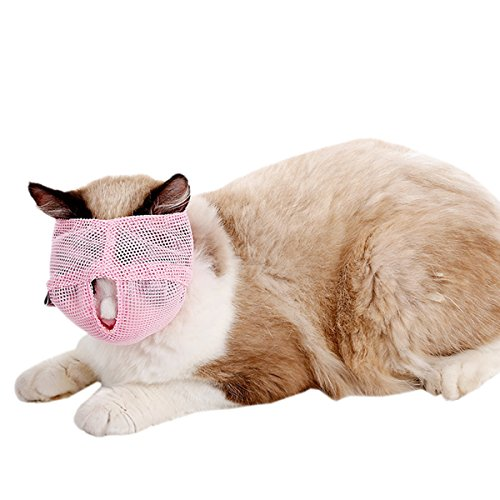 UHeng Pet Cat Muzzles Breathable Mesh Anti Biting Chewing Meow Mouth Cover