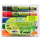 Pilot BeGreen V Board Master Whiteboard Markers, Chisel Point, 5-Pack, Assorted Colors (VBMC5001-P)