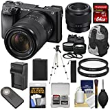Sony Alpha A6300 4K Wi-Fi Digital Camera & 18-135mm Lens (Black) Lenses + 64GB Card + Battery + Charger + Backpack + Kit