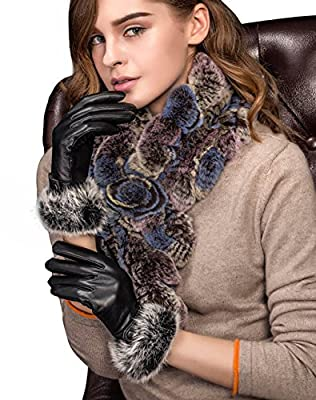 YISEVEN Lady's Furry Genuine Nappa Leather Winter Gloves with Touchscreen Technology