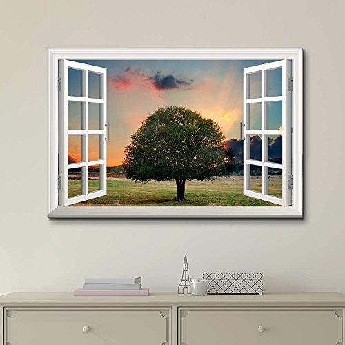 Creative Window View Tree in Sunset
