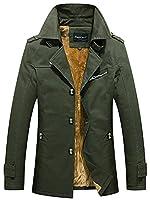 Sawadikaa Men's Single-Breast Lightweight Cotton Jacket Coat with Fleece Pea Coat Windbreaker Wind Trench