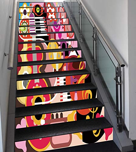 Stair Stickers Wall Stickers,13 PCS Self-adhesive,Music Decor,Complex Graphic with Various Musical Properties Icons Keyboard Festival Piano Party Art Design,Multi,Stair Riser Decal for Living Room, ()