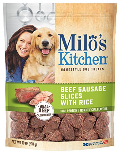 Milo'S Kitchen Beef Sausage Slices With Rice Dog Treats, 18 Ounce