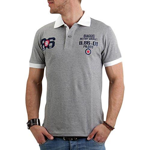 BIAGGIO Herren Kurzarm Poloshirt Bilitos Grey 002