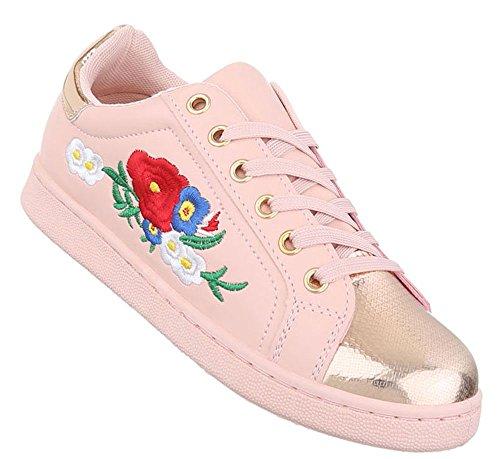 Damen Schuhe Freizeitschuhe Sneakers Turnschuhe Weiß Rosa 40 x9zqKDhs