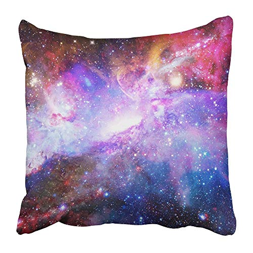 Jbralid Blue Space Galaxy and Nebula of This Furnished by NASA Universe Abstract Light Astronomy Star Pillow Cover Cotton Indoor Home Decor Throw Pillow Case 24x24 in