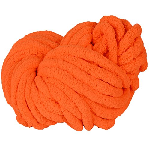 Chenille Chunky Knit Yarn,Chunky Knit Yarn,Arm Knitting,Giant Bulky Knit Yarn,Hand Knitting Yarn,Chunky Blanket Yarn (250g, Orange)