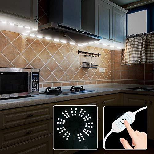 Keyola Full Set 10ft 60leds White Under Cabinet Lights Closet Kitchen Counter LED Light with Brightness Dimmer (White) by Keyola (Image #1)
