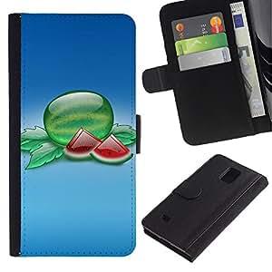 Paccase / Billetera de Cuero Caso del tirón Titular de la tarjeta Carcasa Funda para - Fruit Macro Watermelon Slices - Samsung Galaxy Note 4 SM-N910