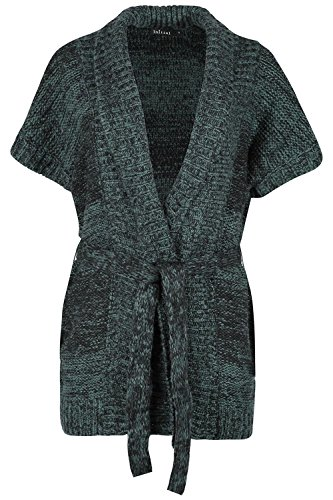 Oops Outlet Womens Ladies MARL Knit Open Front Collared Batwing Sleeve Tie Belted ()