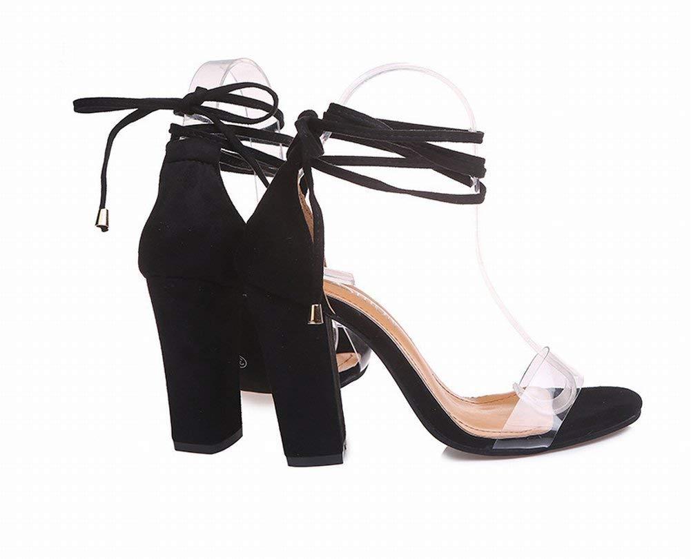 Oudan Große Transparente Sandaletten mit Hohem Absatz (Farbe   Schwarz, Größe   38)