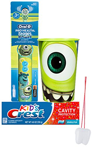 """Disney Pixar Monsters Inc. Inspired 3pc Bright Smile Oral Hygiene Set! Includes: Monsters Inc. Turbo Powered Toothbrush, Crest Kids Sparkle Fun Toothpaste & Mouthwash Rinse Cup! Plus Bonus """"Remember T0 Brush"""" Visual Aid!"""