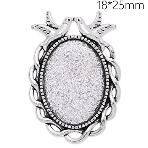 Oval Ring Blank - Unique Design 18x25mm Oval Bezel Settings Antique Silver Plated Pendant Trays-20pcs/lot