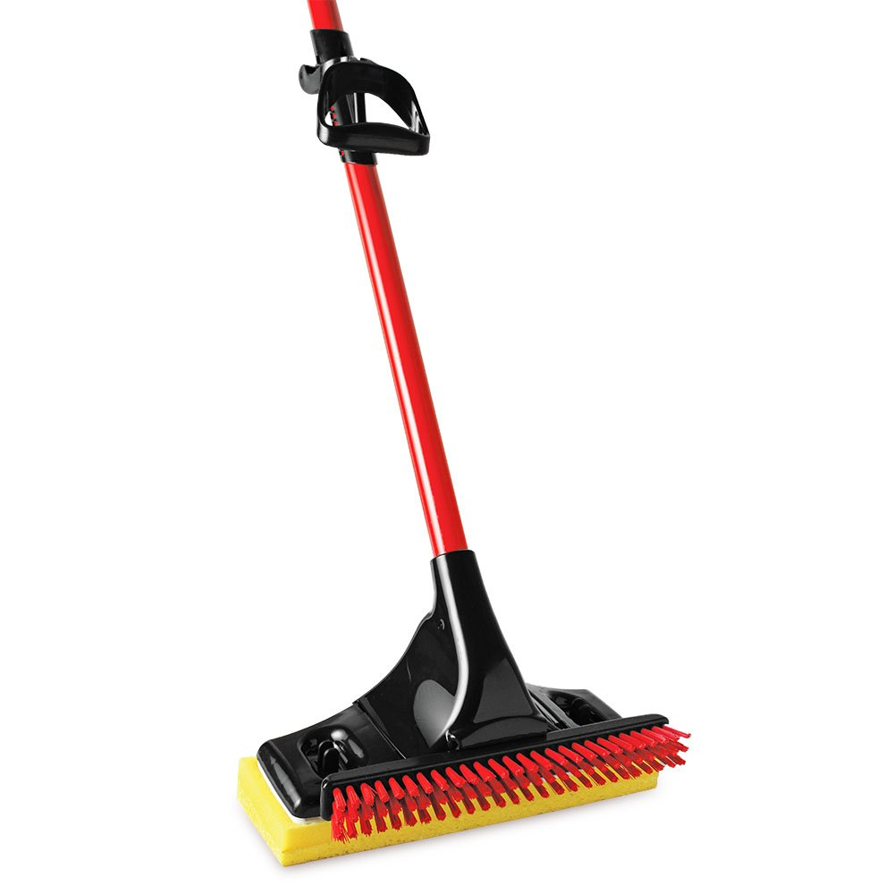 Libman Commercial 3958 Big Gator Mop with Brush, Steel Handle, 11'' Wide Sponge, Red and Black (Pack of 4)
