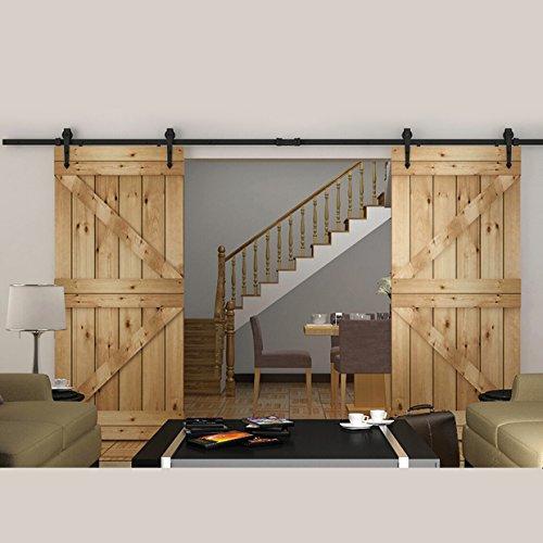 Faithland Modern Design 12FT Sliding Barn Door Hardware Set for Bathroom/Bedroom Balcony Wood Door Closet Hardware (Bedroom Closets Doors)